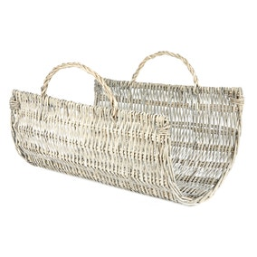 Large Grey Willow Log Holder Basket