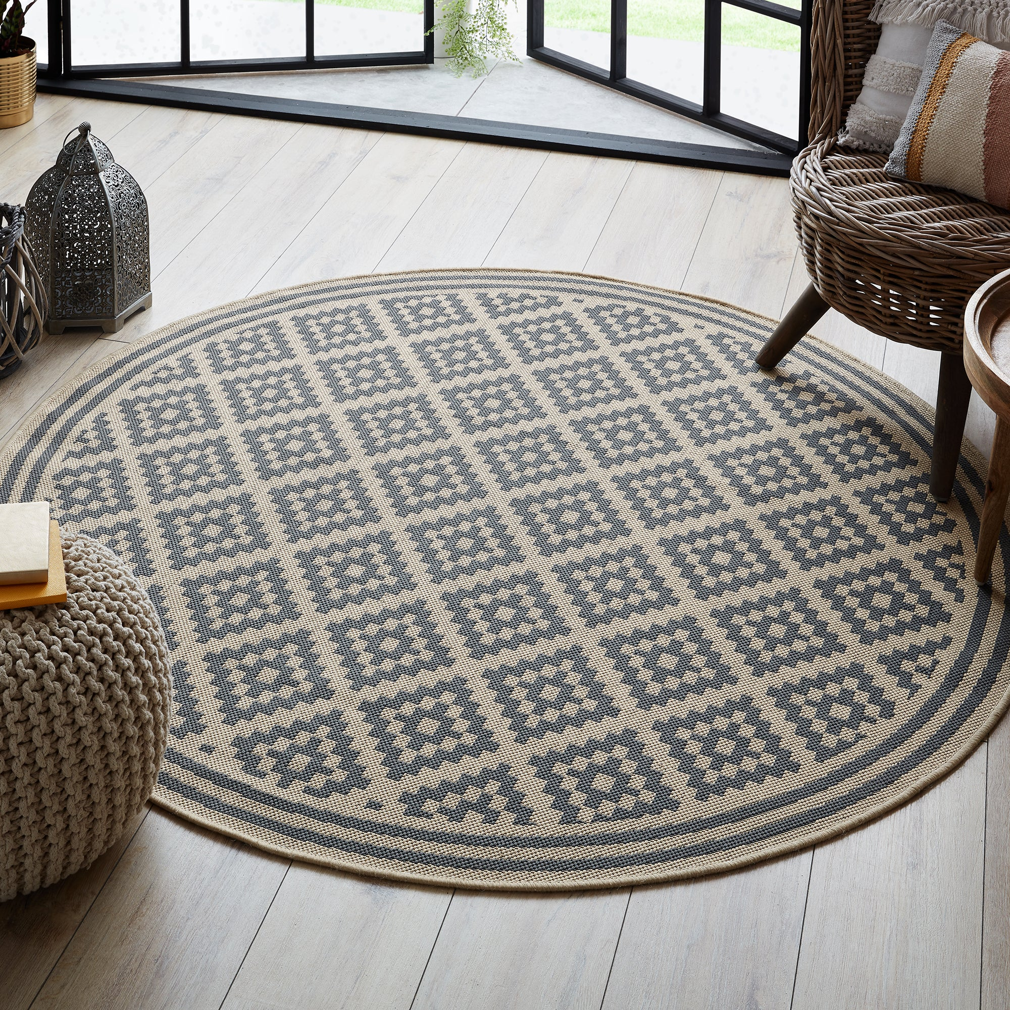 Photo of Indoor outdoor moretti circle rug beige and grey