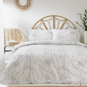 Bamboo Grey 100% Cotton Duvet Cover and Pillowcase Set