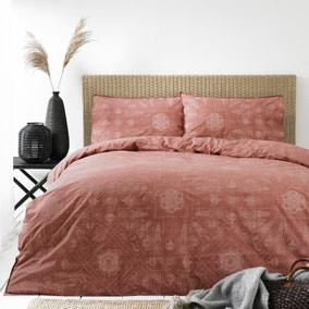 Bohemian Red Clay 100% Cotton Duvet Cover and Pillowcase Set