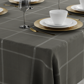 Grey Lustre Check Tablecloth
