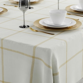 White and Gold Lustre Check Tablecloth