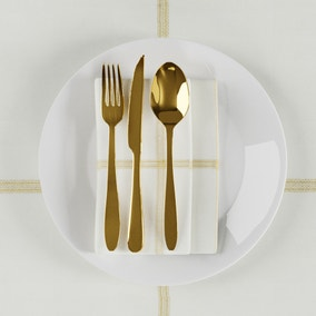 White and Gold Lustre Check Pack of 4 Napkins