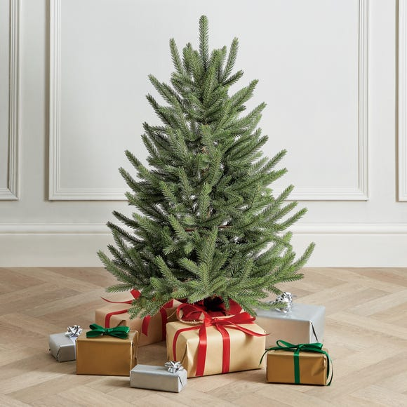 3Ft Real Look Abies Tree With Burlap Base Green
