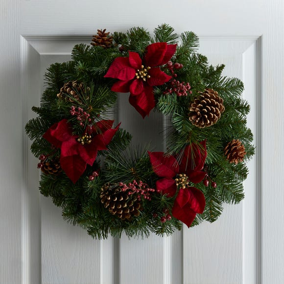Luxury Poinsettia and Berry Wreath Green