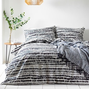 The Linen Yard Brushstrokes Ink 100% Cotton Duvet Cover and Pillowcase Set
