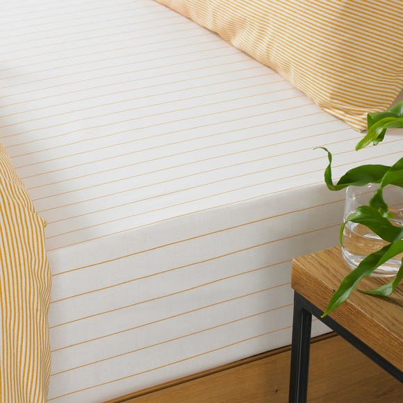 Holbury Ochre Stripe 100% Cotton Fitted Sheet Yellow undefined