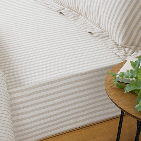 Hebden Natural Stripe 100% Cotton Fitted Sheet Natural undefined
