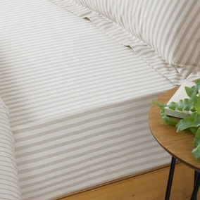 Hebden Natural Stripe 100% Cotton Fitted Sheet
