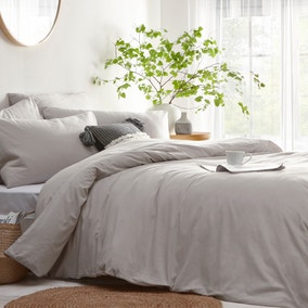 Stonehouse Grey 100% Cotton Duvet Cover and Pillowcase Set