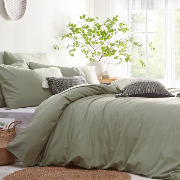 Stonehouse Sage 100 Cotton Duvet Cover, Sage Green Bedding And Curtains