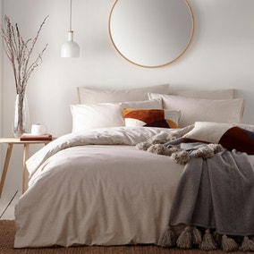 Claybourne Natural 100% Cotton Duvet Cover and Pillowcase Set