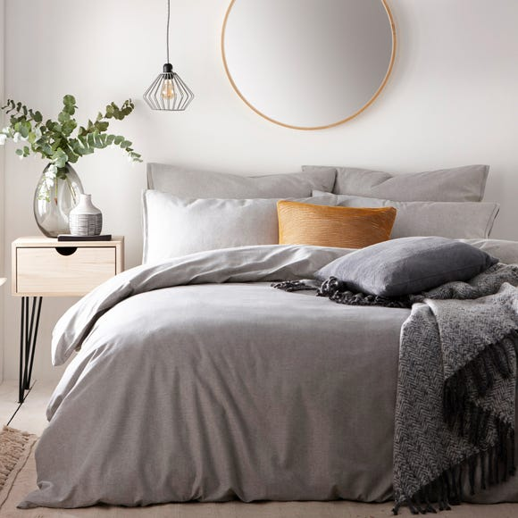 The Linen Yard Claybourne Grey 100% Cotton Duvet Cover and Pillowcase Set  undefined