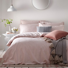Claybourne Blush 100% Cotton Duvet Cover and Pillowcase Set