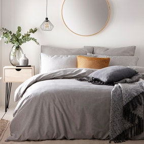 The Linen Yard Claybourne Grey 100% Cotton Duvet Cover and Pillowcase Set
