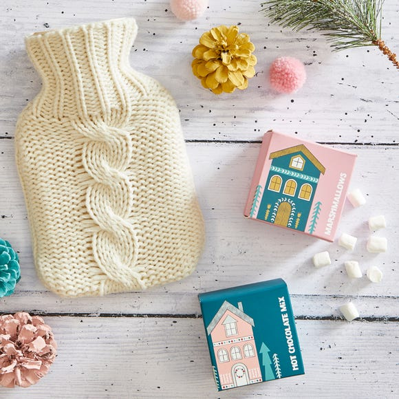 Hot Chocolate and Knitted Hot Water Bottle Gift Set Fawn (Yellow)