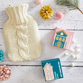 Hot Chocolate and Knitted Hot Water Bottle Gift Set