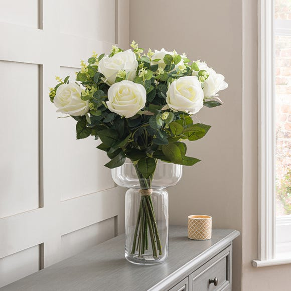 Florals Forever Ava Rose Luxury Bouquet White 58cm White