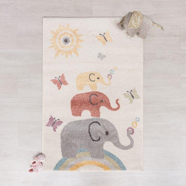Multicoloured Elephants Rug MultiColoured