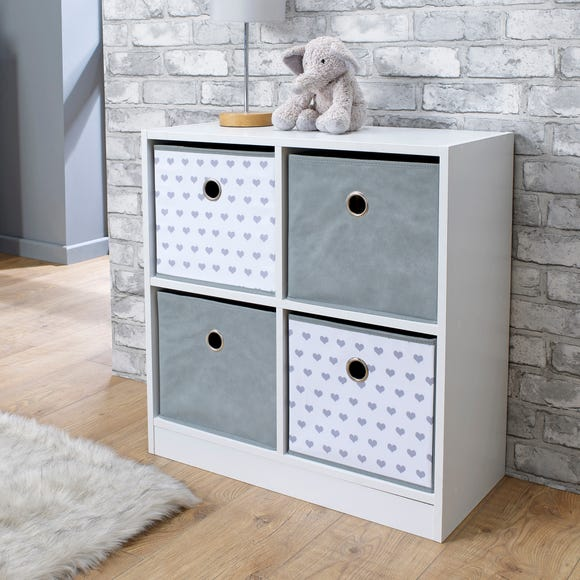 Grey Heart 4 Cube Storage Unit White