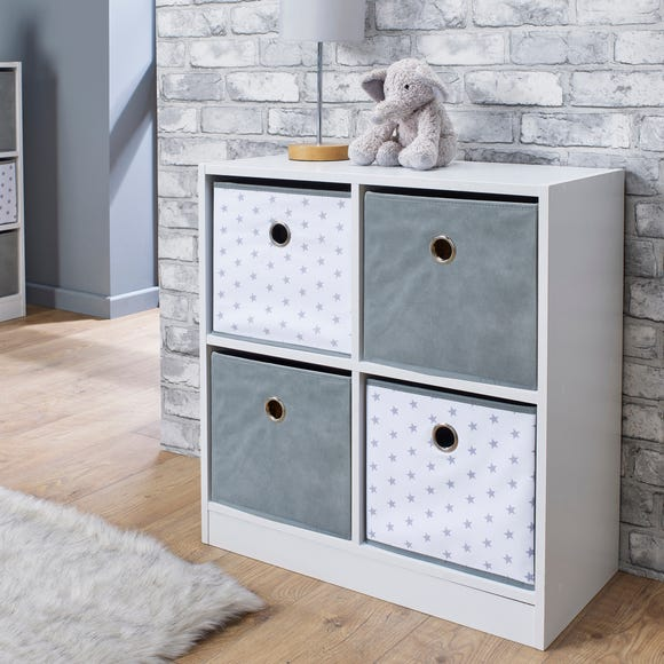Grey Star 4 Cube Storage Unit White