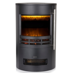 Black Curved Contemporary Stove with 3D Flame Effect