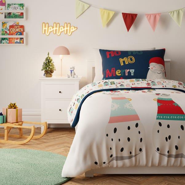 Festive Folk Reversible Duvet Cover and Pillowcase Set MultiColoured undefined