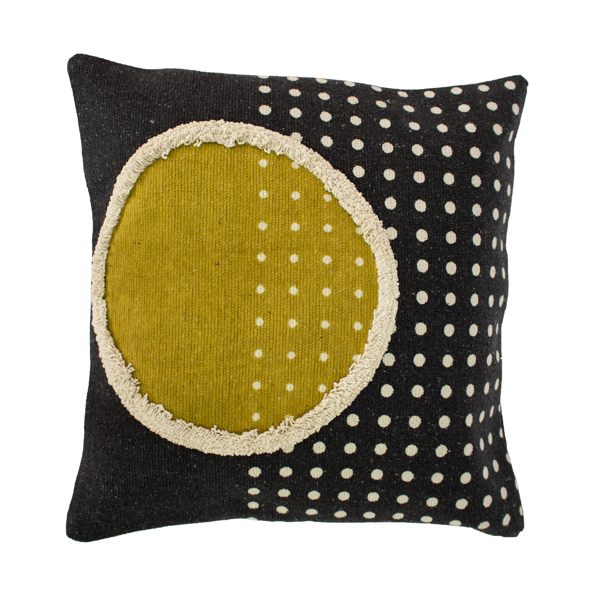 Click to view product details and reviews for Orbit Cushion Black Yellow And Cream.