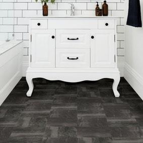 Raven Black Self Adhesive Floor Tiles