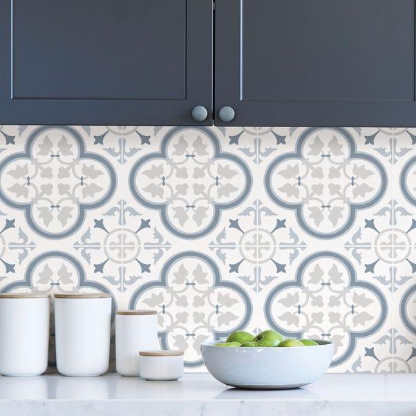 Lisbon Blue Self Adhesive Backsplash Tiles Dunelm