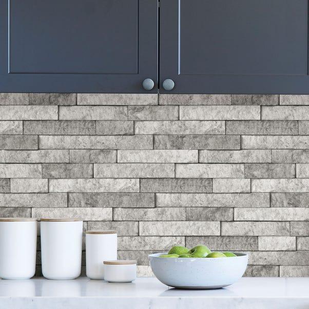 Grey Stone Self Adhesive Backsplash Tiles Dunelm