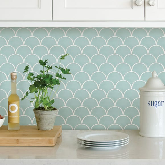 Shell Blue Self Adhesive Backsplash Tiles Blue