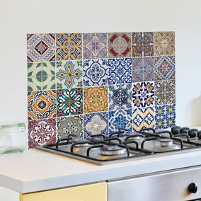 Azulejos Multicoloured Self Adhesive Kitchen Panel