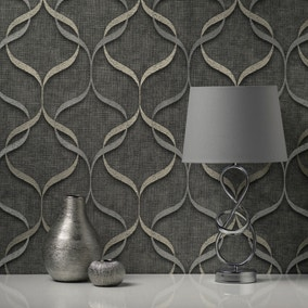 Milano Wave Charcoal Wallpaper