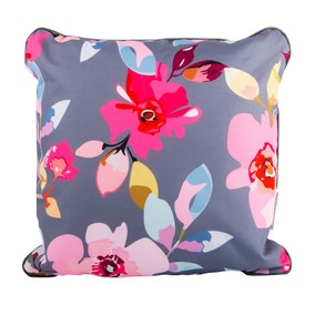 Gardenia Grey Floral and Stripe Cushion