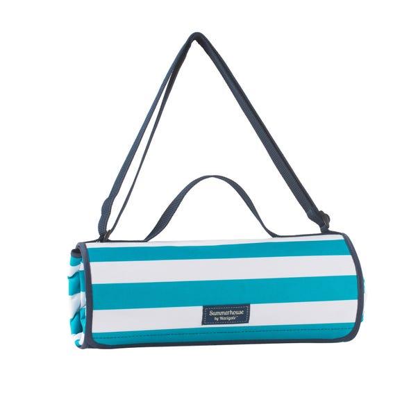 Coast Aqua Striped Waterproof Picnic Blanket Blue