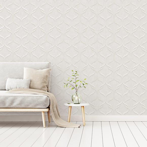 Milano Wave Off White Wallpaper Off-White