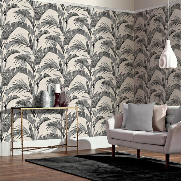Banana Palm Charcoal Wallpaper Black