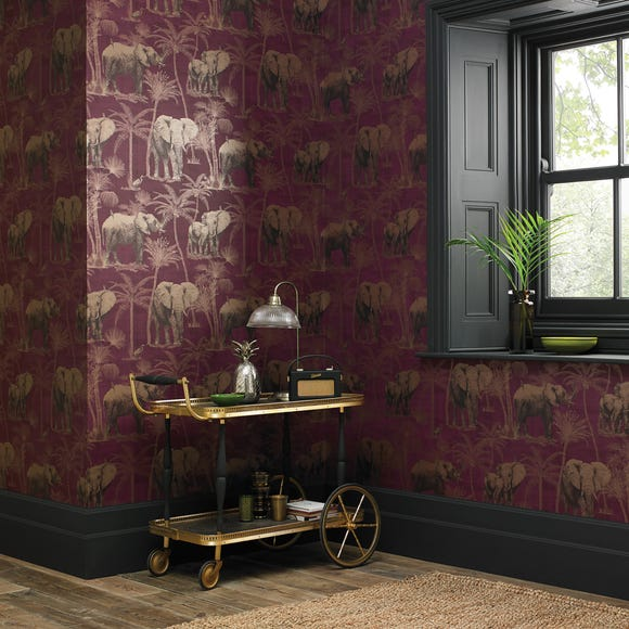 Elephant Grove Aubergine Wallpaper Purple