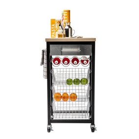 Sandon Black Kitchen Trolley