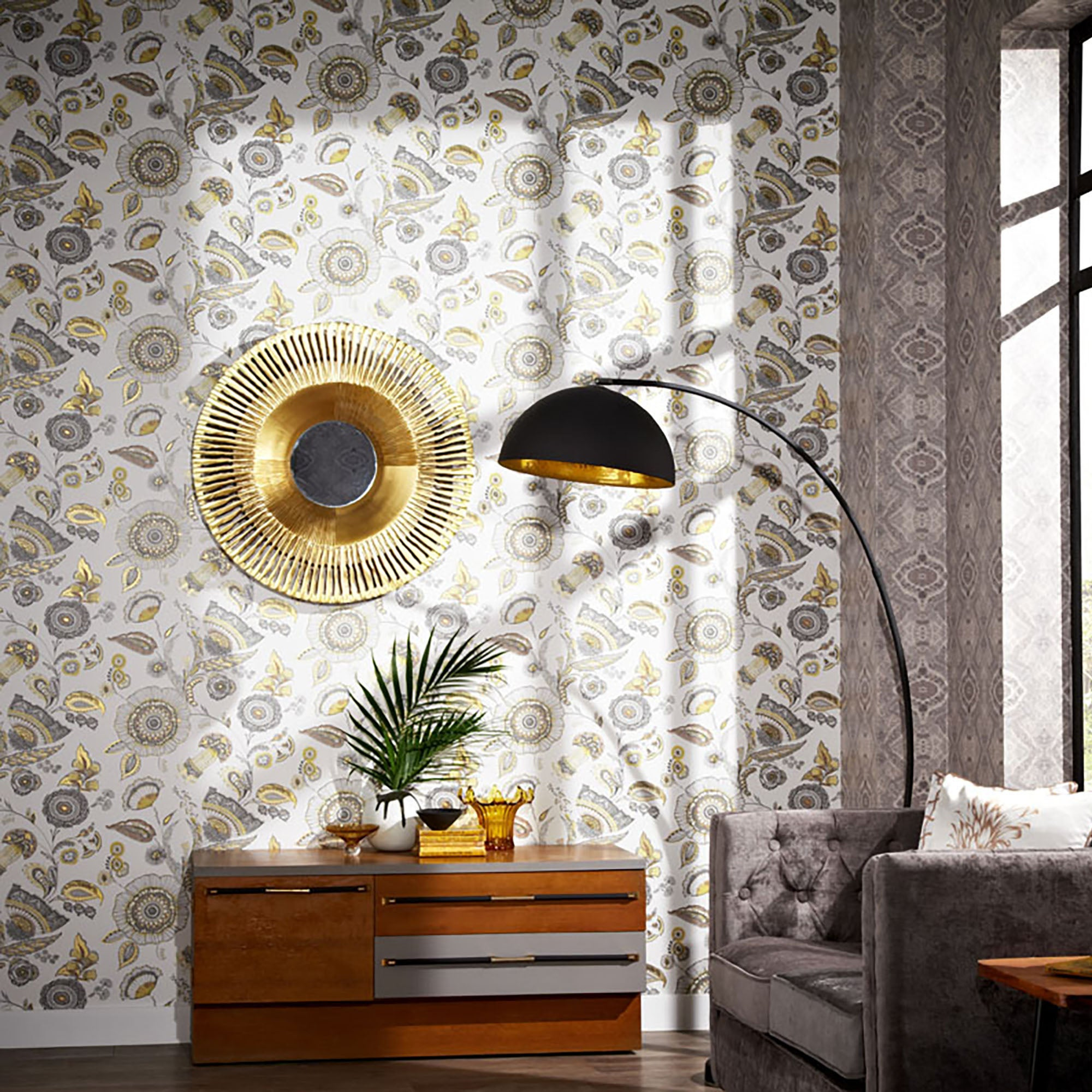 Click to view product details and reviews for Catarina Gold Wallpaper White Grey And Gold.