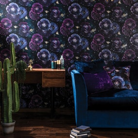 Nocturnal Purple and Teal Wallpaper