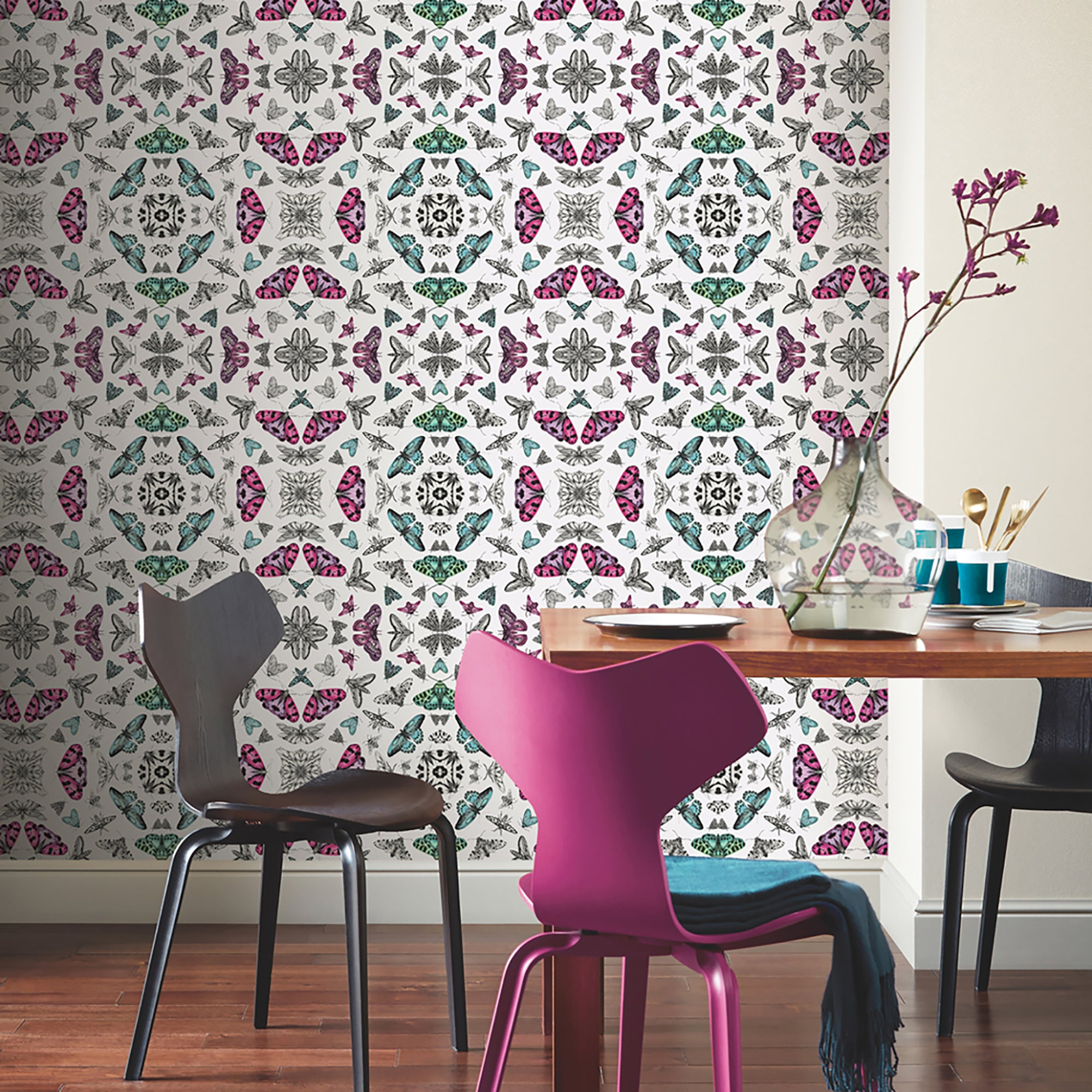 Click to view product details and reviews for Glitter Bug White Wallpaper White Green And Pink.