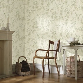 Willow Tree Cream And Green Wallpaper
