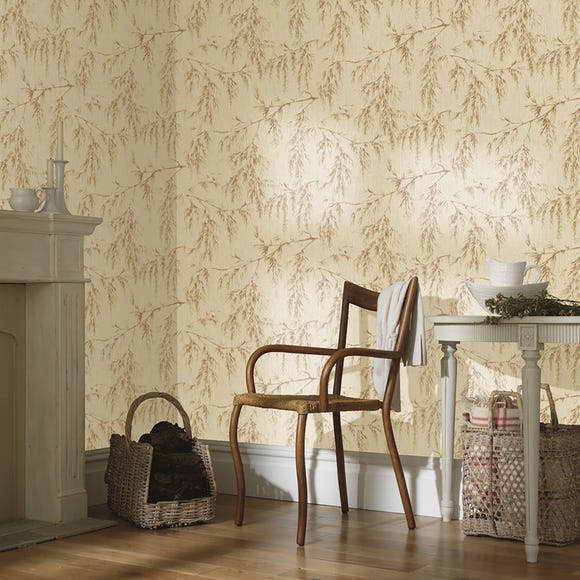 Willow Tree Neutral And Rust Wallpaper Natural