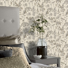Floral Meadow Charcoal And Ochre Wallpaper