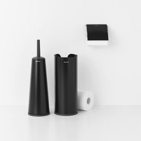 Brabantia Matt Black Set of 3 Toilet Accessories