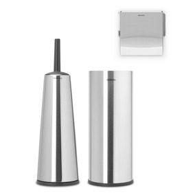 Brabantia Matt Steel Set of 3 Toilet Accessories