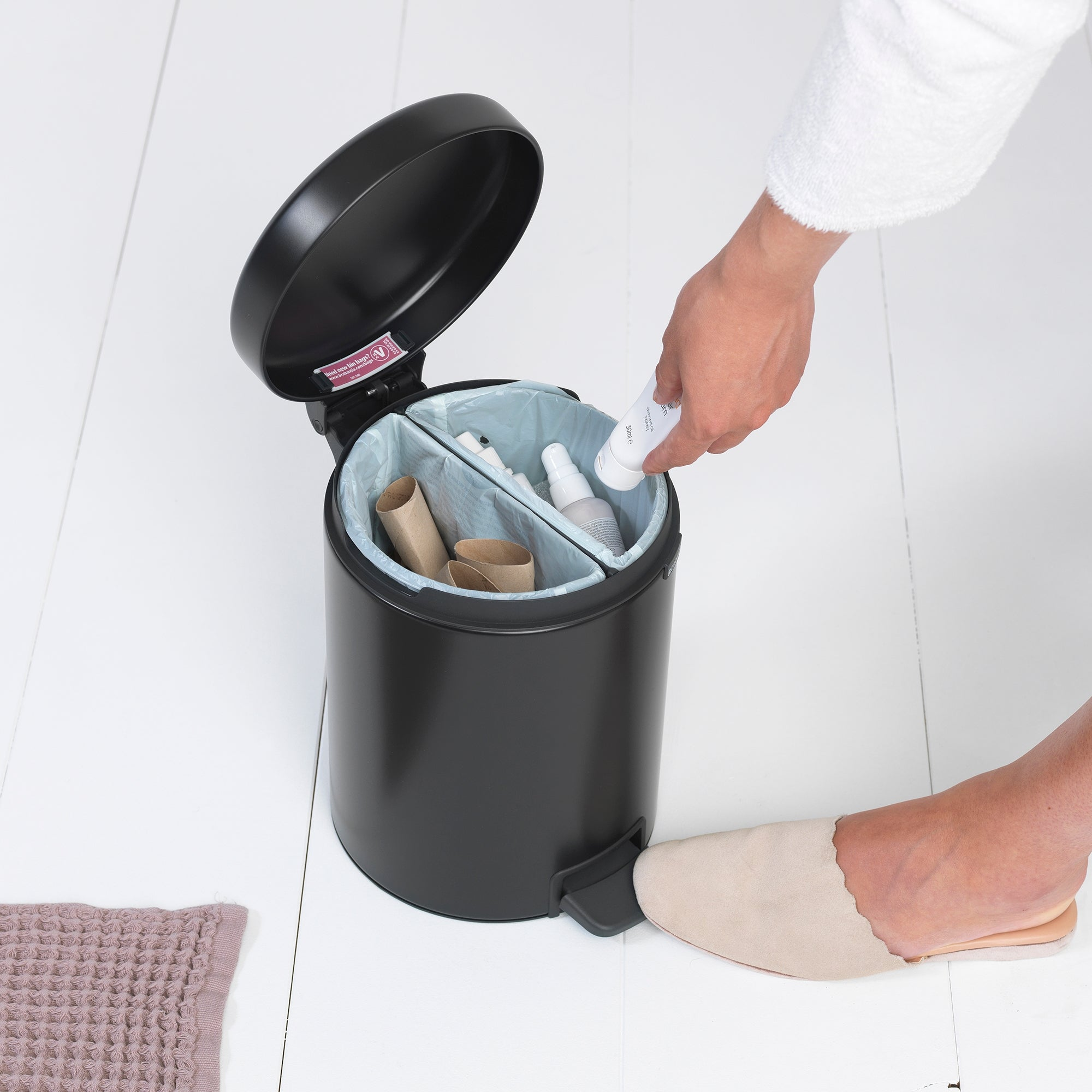 Brabantia Matt Black 4L Recycle Bin Black