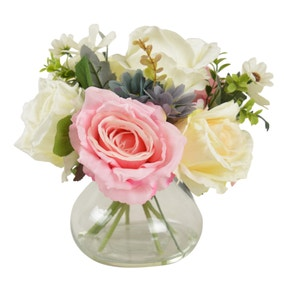 Rose and Daisies Glass Vase Pink 26cm